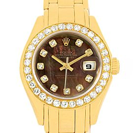 Rolex Pearlmaster 18K Yellow Gold MOP Diamond Ladies Watch 69298