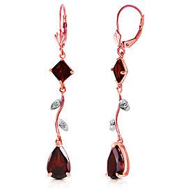 3.97 CTW 14K Solid Rose Gold Chandelier Earrings Diamond Garnet