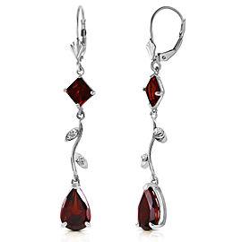 3.97 CTW 14K Solid White Gold Chandelier Earrings Diamond Garnet