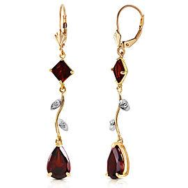 3.97 CTW 14K Solid Gold Chandelier Earrings Diamond Garnet