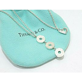 Tiffany & Co. Sterling Silver 1837 Circle Triple Dangle Drop Necklace