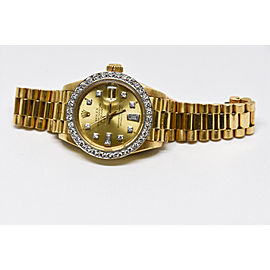 18k yellow gold Rolex DateJust. Diamonds Galore