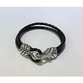 DAVID YURMAN Mens Chevron Double-wrap Woven Leather Bracelet