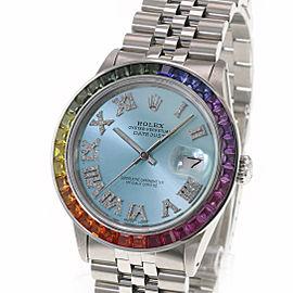 Rolex Datejust 36mm Ice Blue Roman Diamond Dial Rainbow Bezel Jubilee Band Watch