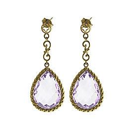 14k Yellow Gold Teardrop Lavender Amy Dangle Earrings