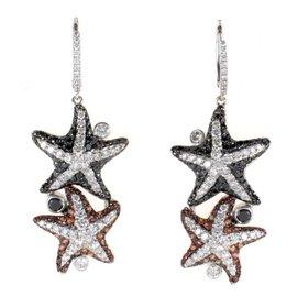 Maggioro 18K White Gold Multi Diamond & Orange Sapphire Starfish Earrings