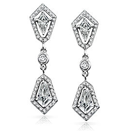 Bullet Cut Diamond Dangle Earrings 7/8ct.tw 14k White Gold