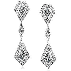 Kite Cut Diamond Dangle Earrings 1 1/10ct.tw 14k White Gold