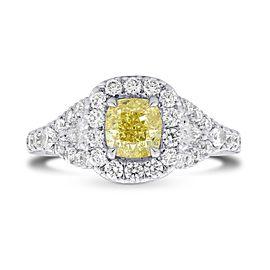 Leibish Platinum with 1.61ctw Diamond Halo Ring Size 6