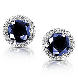 Blue Sapphire Diamond Halo Earrings 1 1/2ct.tw in 14k White Gold