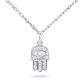 "Mini Diamond Accented Hamsa ""Hand of God"" Pendant & Chain in 14K Gold - white-gold"