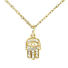 "Mini Diamond Accented Hamsa ""Hand of God"" Pendant & Chain in 14K Gold - yellow-gold"