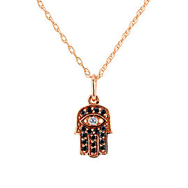 Black and White Diamond Hamsa Pendant 1/10ct.tw in 14k Rose Gold