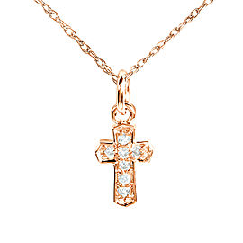 Tiny Diamond Accented Cross Pendant & Chain in 14K Gold - rose-gold