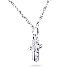 Tiny Diamond Accented Cross Pendant & Chain in 14K Gold - white-gold
