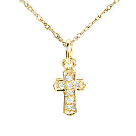 Tiny Diamond Accented Cross Pendant & Chain in 14K Gold - yellow-gold