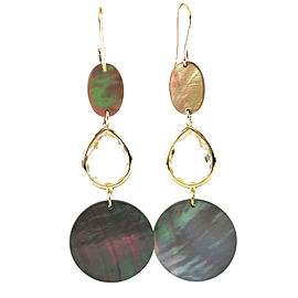 Ippolita 18K Yellow Gold with Clear Quartz and Black Shell Portofino Drop Earrings