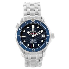 Omega Seamaster 2222.80.00 Stainless Steel & Blue Wave Dial 36.25mm Mens Watch