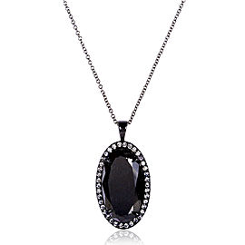Black and White Diamond Oval Pendant 12ct.tw 14k Black Gold (Certified)
