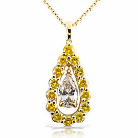 Fancy Yellow and White Diamond Pendant 2 3/8ct.tw 14k Two Tone Gold