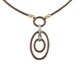 Charriol Celtique Bronze Cable 18K Petra Gold Diamond Oval Pendant Necklace