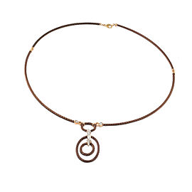 Charriol 18K Petra Gold with Bronze Stainless Steel and 0.06ct Diamond Pendant Necklace