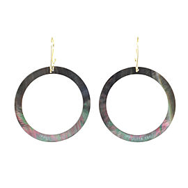 Ippolita 18K Yellow Gold with Black Shell Slice Open Circle Drop Hook Earrings