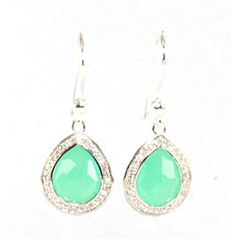 Ippolita 925 Sterling Silver with Chrysoprase and 0.26ctw Diamond Small Stella Teardrop Earrings