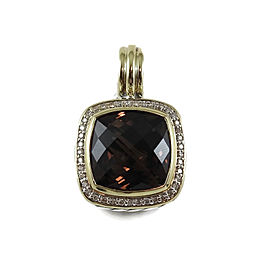 David Yurman Sterling Silver 18K Yellow Gold .30tcw Diamond 14mm Smoky Quartz Albion Enhancer Pendant