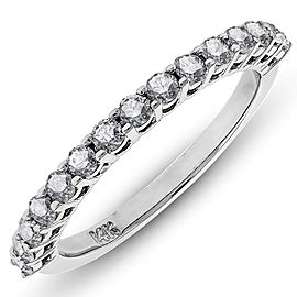 14K White Gold Round Cut Diamond Wedding Band Diamond Ring