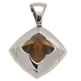 Bulgari 18K White Gold Yellow Citrine Piramide Pendant
