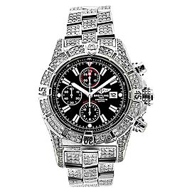 Breitling Super Avenger A13370 Black Sticks Dial 15ct Diamond Mens Watch