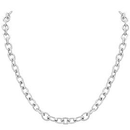 Judith Ripka 925 Sterling Silver Textured & Polished Links Necklace