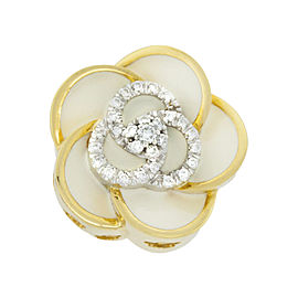 Roberto Coin 18K Yellow Gold 0.35ctw Diamond Flower Ring Size 7