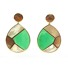Ippolita 18K Yellow Gold Green Chrysoprase Shell Mother of Pearl Pisa Earrings