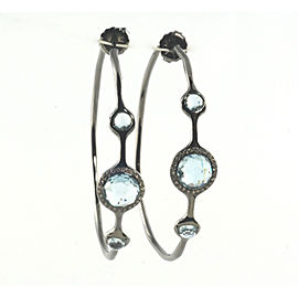 Ippolita Sterling Silver Blue Topaz Diamond Hoop Earrings