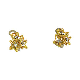 Piaget 18k Yellow Gold & Diamonds Star Design Clip On Earrings