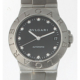 Bvlgari Lcv35S Bulgari Diagono Stainless Steel Black Dial With Diamonds Watch
