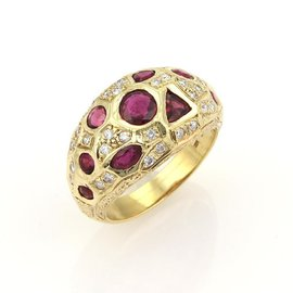 Rubies & Diamonds 18K Yellow Gold Geometric Dome Ring