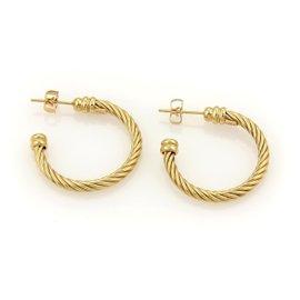 Charriol Twisted Wire Design 18k Yellow Gold Hoop Earrings