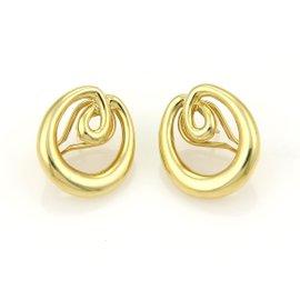 Tiffany & Co. 18K Yellow Gold Double Loop Open Oval Hoop Earrings