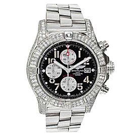 Breitling A13370 Super Avenger Black Dial Diamonds Men's Watch
