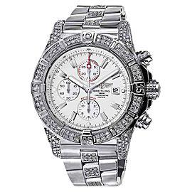 Breitling Super Avenger A13370 Diamond Bezel Case Lugs White Dial Mens Watch