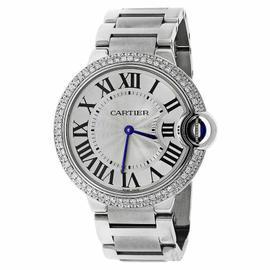 Cartier Ballon Bleu De Cartier W69011 Diamond 2 Row Bezel Stainless Midsize Watch