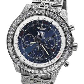 Breitling Bentley A44362 Neptune Blue Stainless Dial Jubilee Diamond Watch