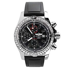 Breitling Super Avenger A13370 Chronograph Black Dial Diamond Men's Watch 48mm