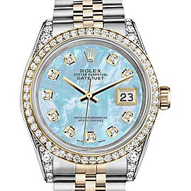 Rolex Datejust Steel Gold Baby Blue MOP Color Diamond Dial Ladies 26 mm Watch