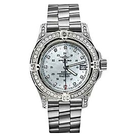 Breitling Colt A74380 Stainless Steel Mother Of Pearl Dial Diamond Bezel 41.1mm Watch