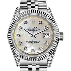 Rolex Datejust StainlessSteel White MOP Mother Of Pearl Diamond Dial 31mm Ladies Watch