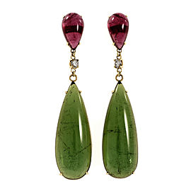 18K Yellow Gold Pink & Green Tourmaline Diamond Dangle Earrings